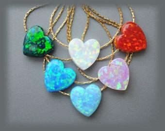 Heart Opal. Heart necklace Opal. Gift for mom. Goldfield Jewelry. Blue opal. Fire Opal. White Opal Heart.  Mothers day Gift. Girlfriend gift