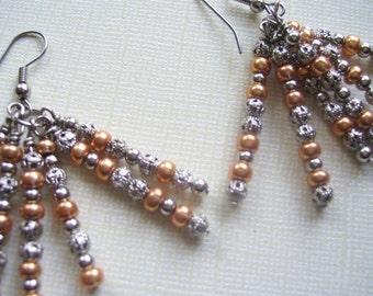 Silver Metal Bead Tassel Earrings