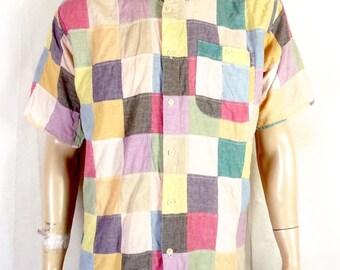 vtg Orvis euc Men's Colorful Patchwork Indian Madras Button Down Dress Shirt M