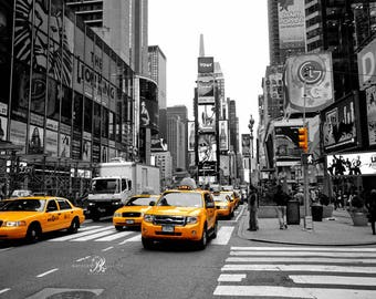 New York Photography Prints Set Wall Decor, Times Square Black and White print, Yellow taxi print, New York Decor,  New York Colour Pop Art