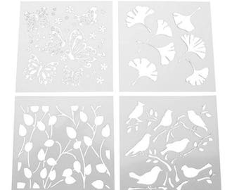 Leaves, Flowers, Butterflies & Birds Cake Decor, Wall stencils 4 pack