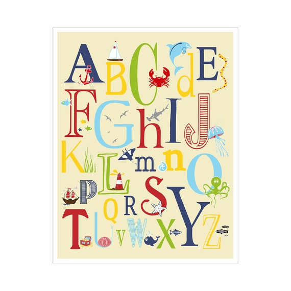 Children\'s Wall Art / Nursery Decor Nautical Alphabet