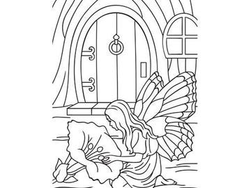 Fairy Door Embossing folder by Darice Fairy with Flower for DIY Cardmaking, Large Flower and Fairy