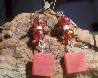 Red stained glass and bead dangle earrings