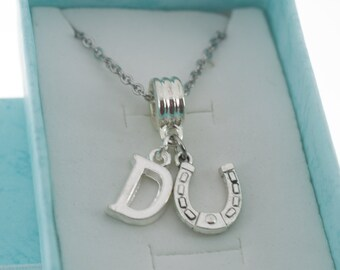 Little Girl's horseshoe necklace in silver personalized with initial.   Little girls jewelry.  Little girl necklace. Horseshoe necklace.