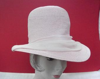 Vintage 1960s Hat Designer Oleg Cassini Light Pink Straw Large Brim