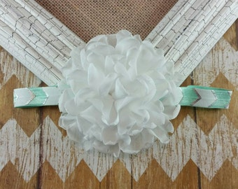 White and mint headband, white flower headband, mint headband, singed flower headband, girls headband, children's headband, flower headband