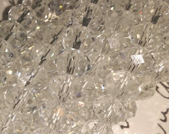 Glass Beads - Faceted - Clear Beads -  8mm x 6mm  - 42 pcs.