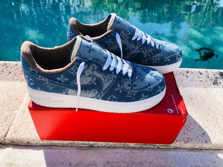 low cost 5fe4f 8debe Nike Air Force 1 x LV Denim Inspired Custom Design Men Women Sizes Designer  Luxury Brand Supreme Off White Virgil Abloh louis vuitton AF1