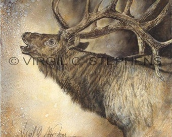 Elk art, A Whole Lot Of Bull, print from my original oil painting of a bull elk bugling. Rocky Mountain Elk