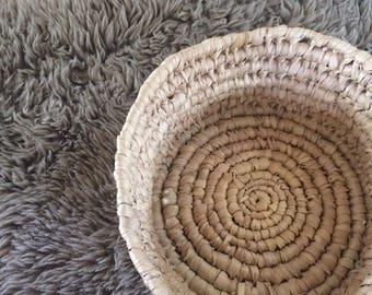 vintage woven coiled basket, natural organic decor