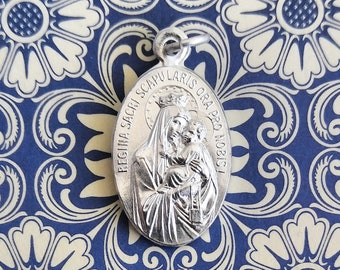 Alpacca Silver Scapular Medal with Sacred Heart - Jesus - NOT ANTIQUED