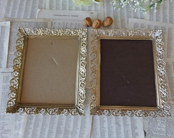 Victorian frames Set of two picture frames  Shabby chic decor Ornate metal frames Vintage