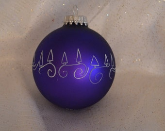 Purple Hand painted Glass Christmas Ornament