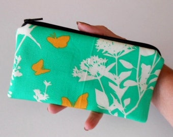 Zipper Pouch for Phone Cosmetic Zipper Pouch ECO Friendly Padded NEW SIZE Butterflies on Emerald