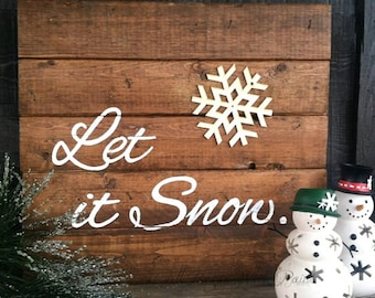 Gift, Let It Snow, christmas signs, wood signs, christmas decorations, christmas decor