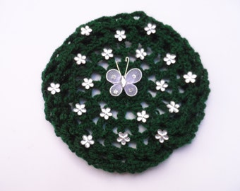 Medium Bun Cover with Flower Rhinestones and Butterfly, 24 Colors, Crochet Bun Cover, Bun Wrap, Bun Holder, Snood, Ballet Recital Gift