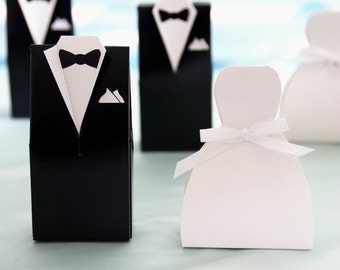 Tuxedo and sweetheart dress wedding favors