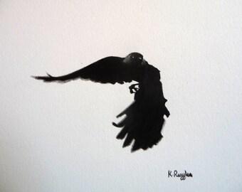 Crow original charcoal sketch, crow art, charcoal drawing, pencil drawing, bird drawing, wildlife art, gothic art, bird art, jackdaw drawing