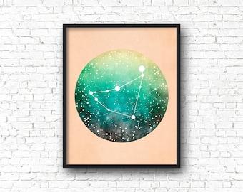 Capricorn Constellation Print, Zodiac Sign, Capricorn Print, Capricorn Gift, Constellation Art, Space Art