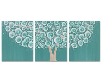 Teal Wall Art on Canvas Triptych, Acrylic Painting of Tree, Original Art in Teal and Brown - 35x14