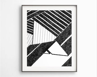 Geometric Drawing, Black White Abstract, Black & White Prints, Simple Geometric Art,  Modern Wall Art, Black White Drawing, Digital File