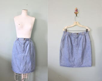 1980s Vivaldi Jeanswear Light Blue Denim High Waist Skirt / Waist 33""