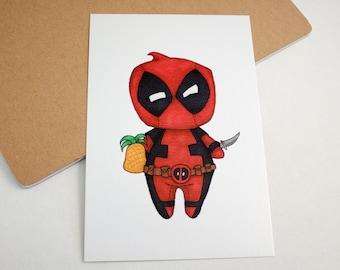 Mini Deadpool - 4x6 Print [ Marvel / Fan Art / Chibi ]