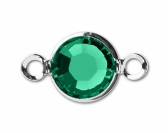 SWAROVSKI 2 Hole 6mm Channel Link - Emerald/Silver Plate Pack 4