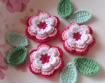 3 Crochet  Flowers With Leaves YH - 071-03