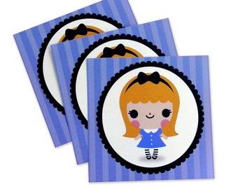Alice In Wonderland Kawaii Art Print 5 x 5