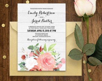 Printable Wedding Invitation Template - Rustic Gray Wood & Pink Roses - Shabby Chic Wedding Invite - Floral Watercolor Wedding Invitations