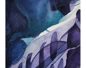 Abstract Watercolor 11x11- Blue, Purple, Turquoise - Original Painting on Paper- Ice Flow- Ultra Violet