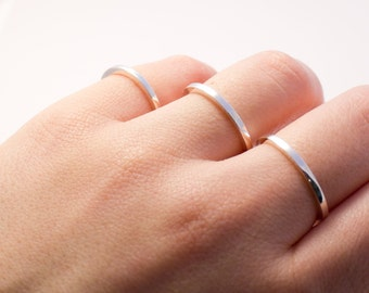 Stylish and Simple Stacking Rings, Minimal Rings, Silver Rings, Square Silver Rings, Minimalist Ring, Gift for Her,  Dainty Line Rings