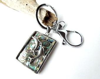 Abalone Shell Dolphin Keychain, Dolphin Car Accessories, Dolphin Gift Ideas, Beach Keychain, Summer Key Chain, Shell Gifts