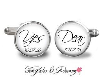 Yes Dear Cufflinks- Personalized - Mens Cuff Links- Cufflinks- Wedding- Groom - Fathers Day- Birthday- Gifts for Him - UK