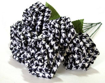 Black and White Houndstooth Rose Bouquet