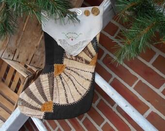 Christmas stocking, Quilted stocking, Vintage stocking, Vintage quilt stocking, primitive stocking, hand made stocking, Santa stocking.
