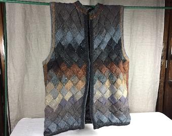 Hand knit  cross weave sweater vest