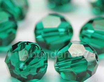 24 pcs Swarovski Elements - Swarovski Crystal Beads 5000 4mm Round Ball Beads - EMERALD