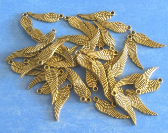 20 ANGEL WINGS Gold Tone Charm  (double sided) 17mm x 5mm
