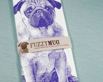 Pug Tea Towel in Purple - Hand Printed Flour Sack Tea Towel, Pug Gifts