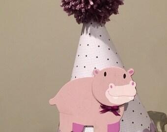 Hippo birthday hat, girls birthday hat, first birthday hat, toddler birthday hat
