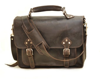 Distressed Brown Leather Briefcase Messenger Carry-All Shoulder Bag Murse Satchel Work Bag Book Bag School Bag Carry On Men's Briefcase