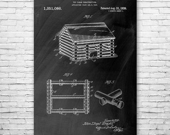 Lincoln Logs Toy Cabin Poster Art Print, Lincoln Logs Poster, Lincoln Logs Art, Lincoln Log Wall Art, Lincoln Logs Patent, Lincoln Logs