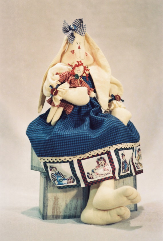 Gina - Mailed Cloth Doll Pattern- 18in Raggedy Ann Girl Bunny Rabbit