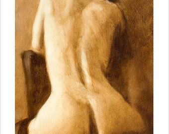 Female Nude Portrait Erotic Art by award winning artist John Silver. Personally signed A4 or A3 size Print. Mature image. FI021SP