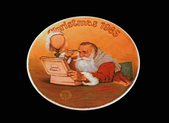 1985 Knowles Collector Plate, Norman Rockwell, Grandpa Plays Santa, Limited Edition, Numbered Plate, Decorative Plate, Collectible Plate