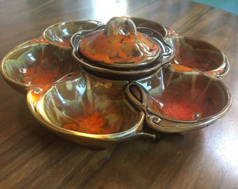 California Original 3 Piece Serving Dish in Orange and Browns-1192-1193