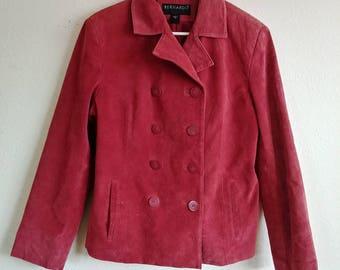Vintage Leather Lipstick Red Blazer